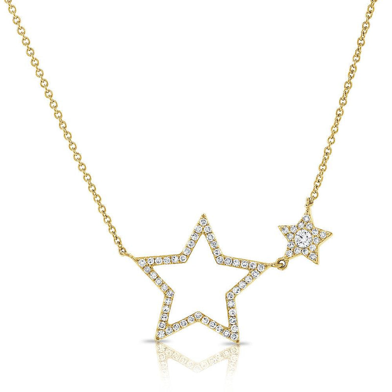 Sabrina Designs 14k Yellow Gold Diamond Open Star Necklace