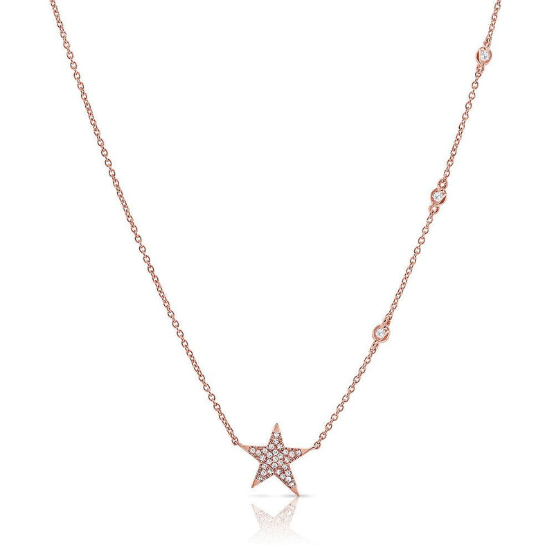 14K Gold Diamond Pave Star Necklace