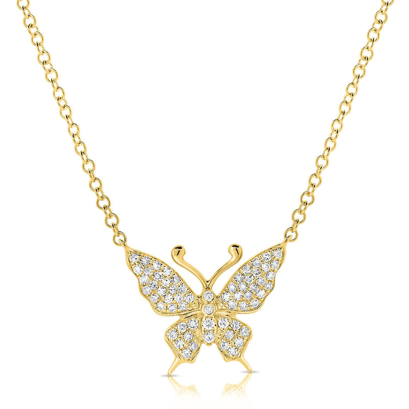 Sabrina Designs 14k Yellow Gold Diamond Butterfly Necklace