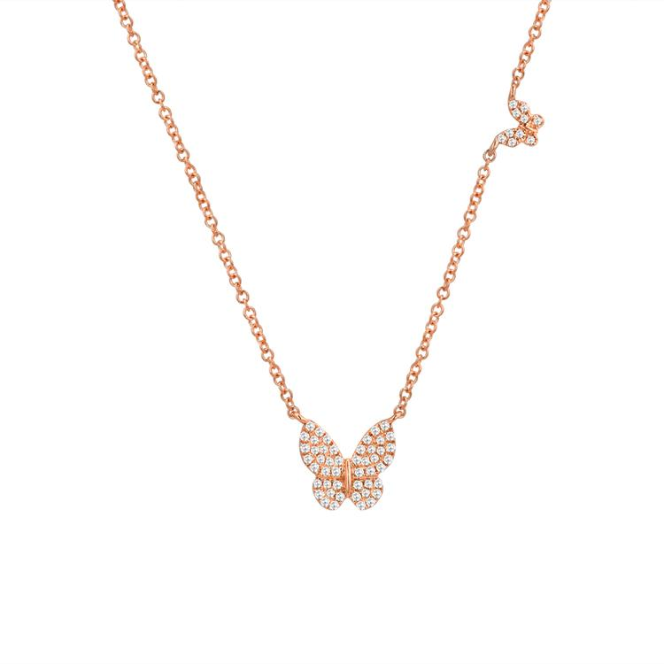 Sabrina Designs 14k Rose Gold Diamond Butterfly Necklace