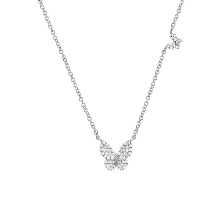 Sabrina Designs 14k White Gold Diamond Butterfly Necklace