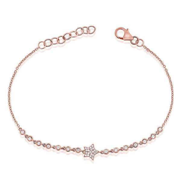 Sabrina Designs 14k Rose Gold Pave Diamond Star Bracelet