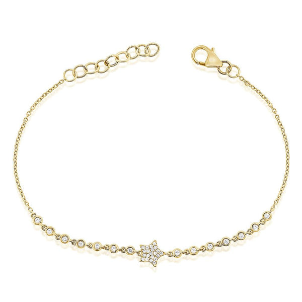 Sabrina Designs 14k Yellow Gold Pave Diamond Star Bracelet