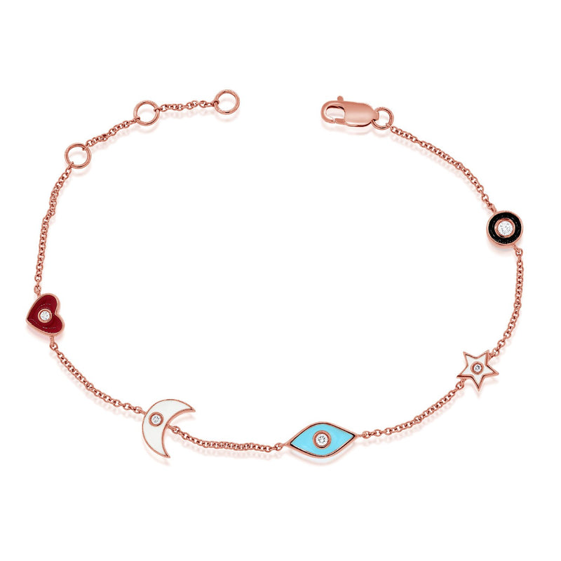 Sabrina Designs 14k Rose Gold Diamond Charm Bracelet