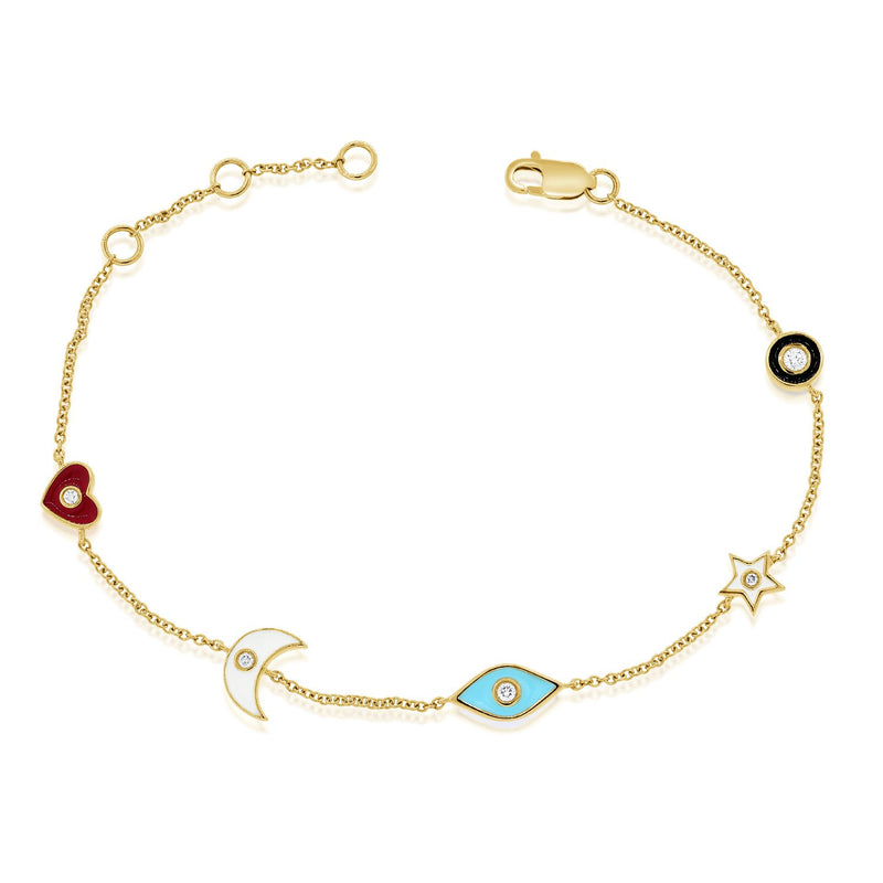Sabrina Designs 14k Yellow Gold Diamond Charm Bracelet