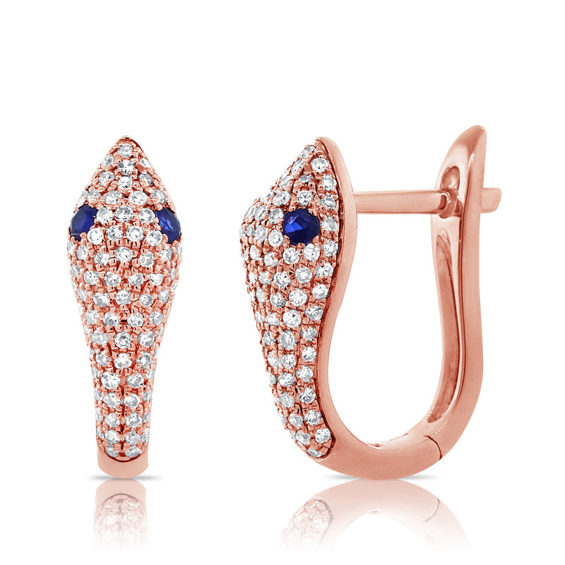 Sabrina Designs 14k Rose Gold Diamond and Sapphire Snake Huggie Earrings