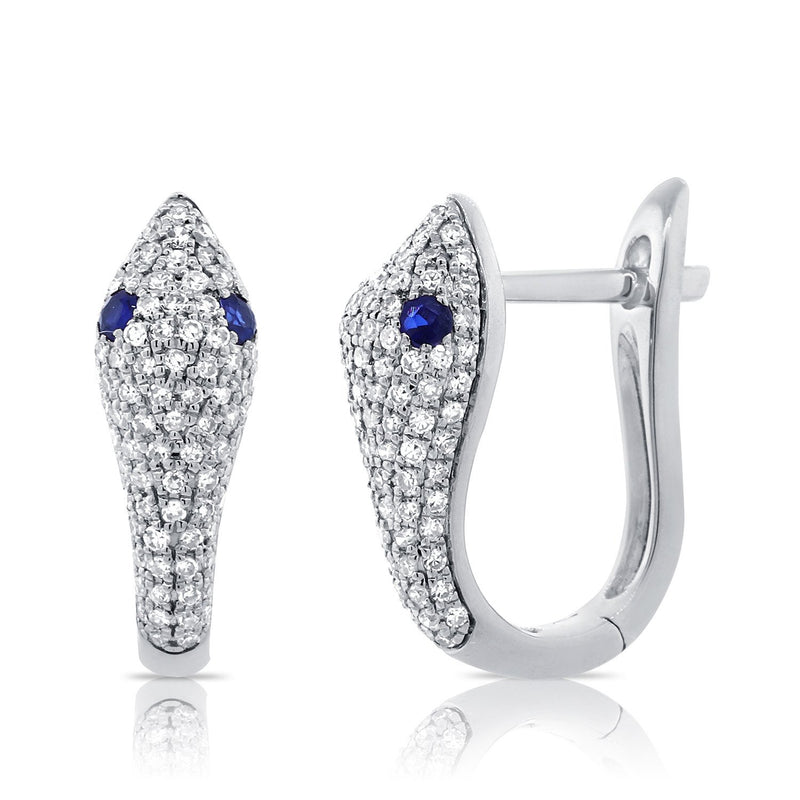 Sabrina Designs 14k White Gold Diamond and Sapphire Snake Huggie Earrings