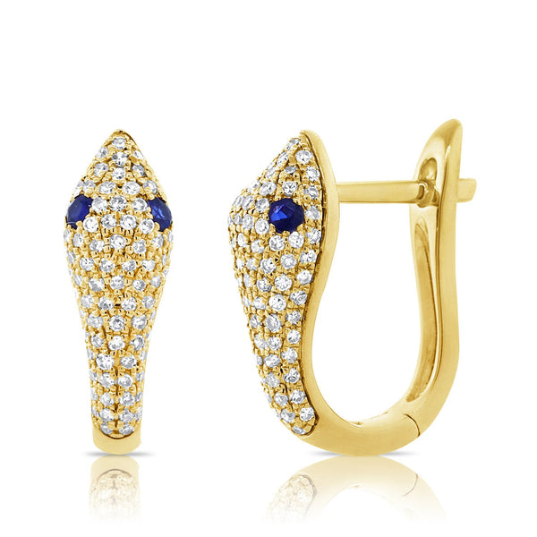 Sabrina Designs 14k Yellow Gold Diamond and Sapphire Snake Huggie Earrings