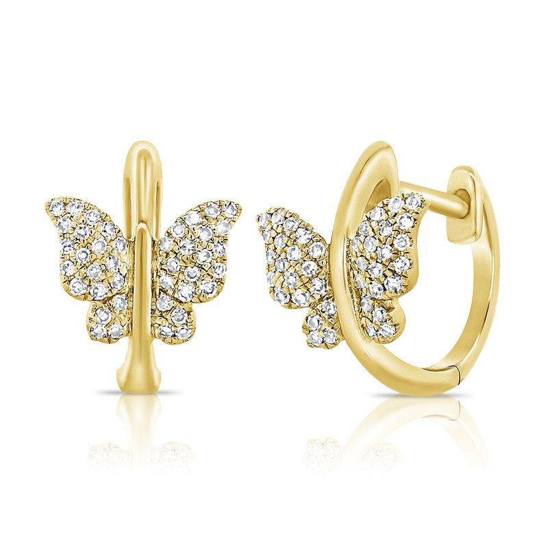 14K Gold Diamond Butterfly Huggie Earrings