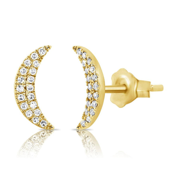 14K Gold Diamond Moon Earrings
