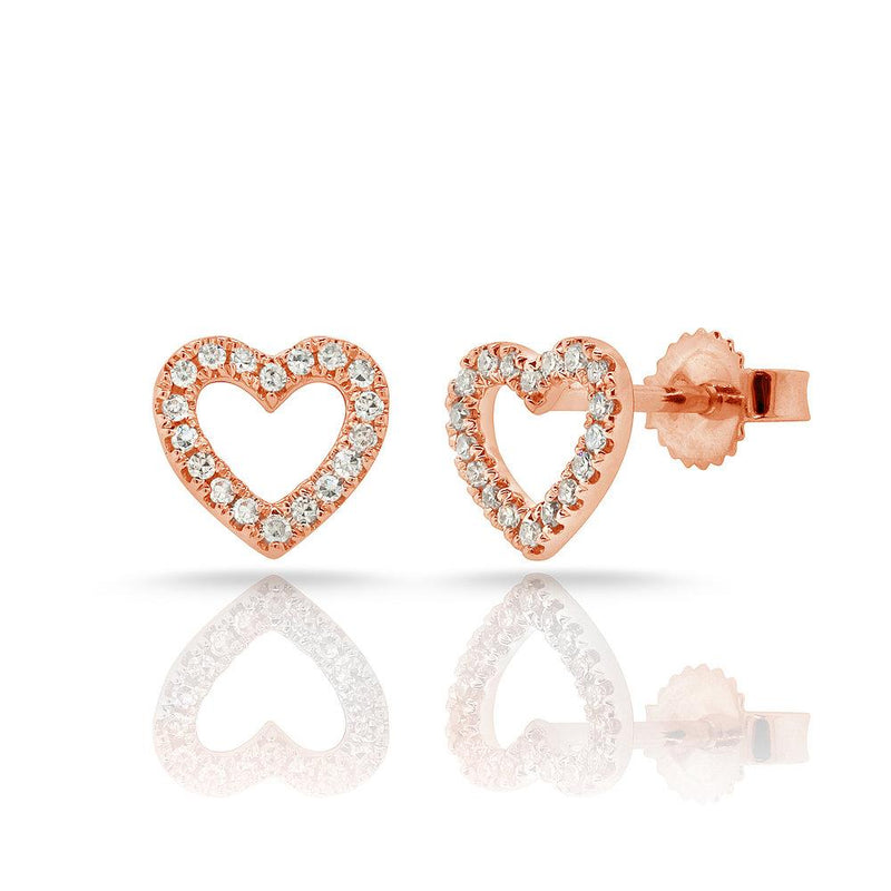 Sabrina Designs 14k Rose Gold Diamond Open Heart Earrings