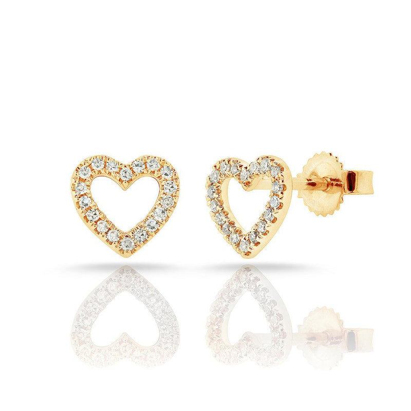 Sabrina Designs 14k Yellow Gold Diamond Open Heart Earrings