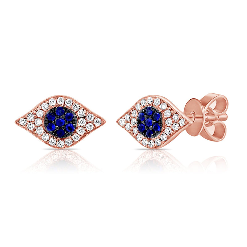 Sabrina Designs 14k Rose Gold Diamond & Sapphire Evil Eye Studs