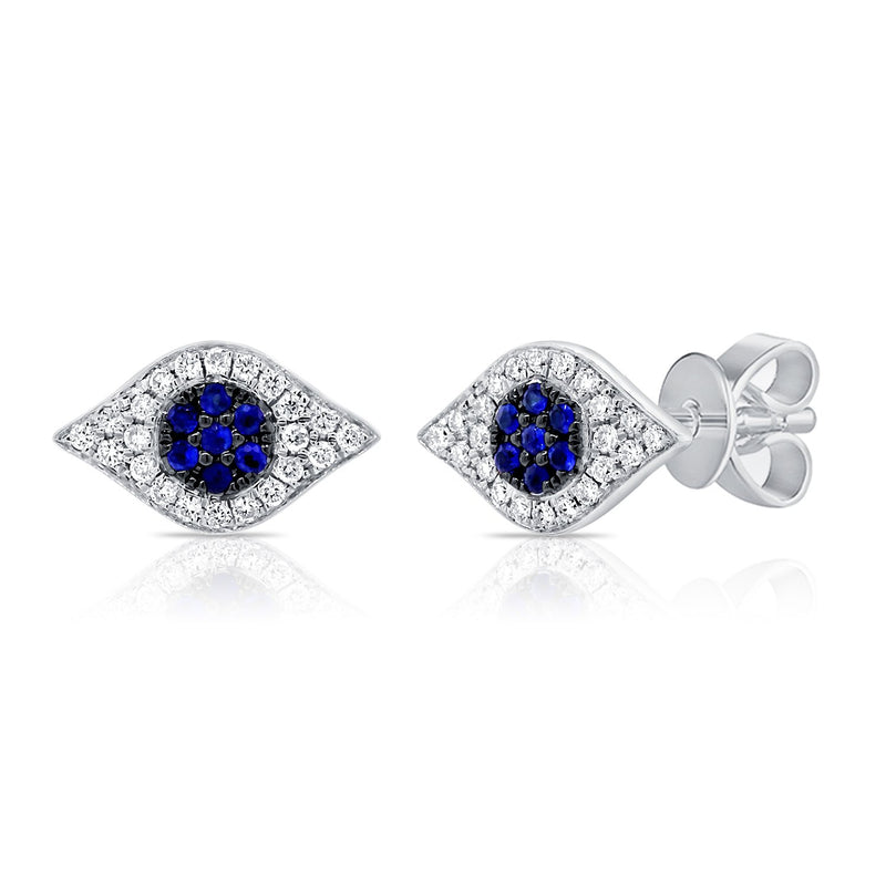 Sabrina Designs 14k White Gold Diamond & Sapphire Evil Eye Studs