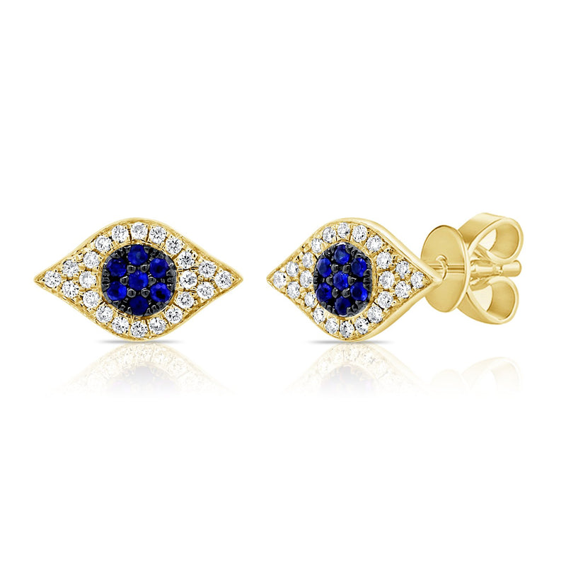 Sabrina Designs 14k Yellow Gold Diamond & Sapphire Evil Eye Studs