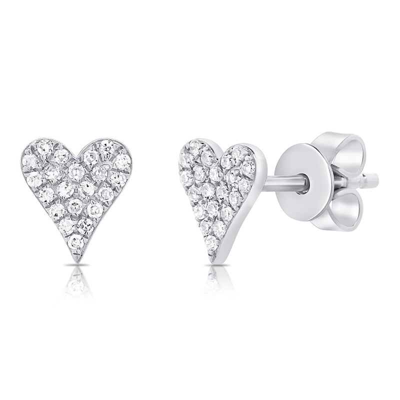 Sabrina Designs 14k White Gold Pave Diamond Heart Stud Earrings