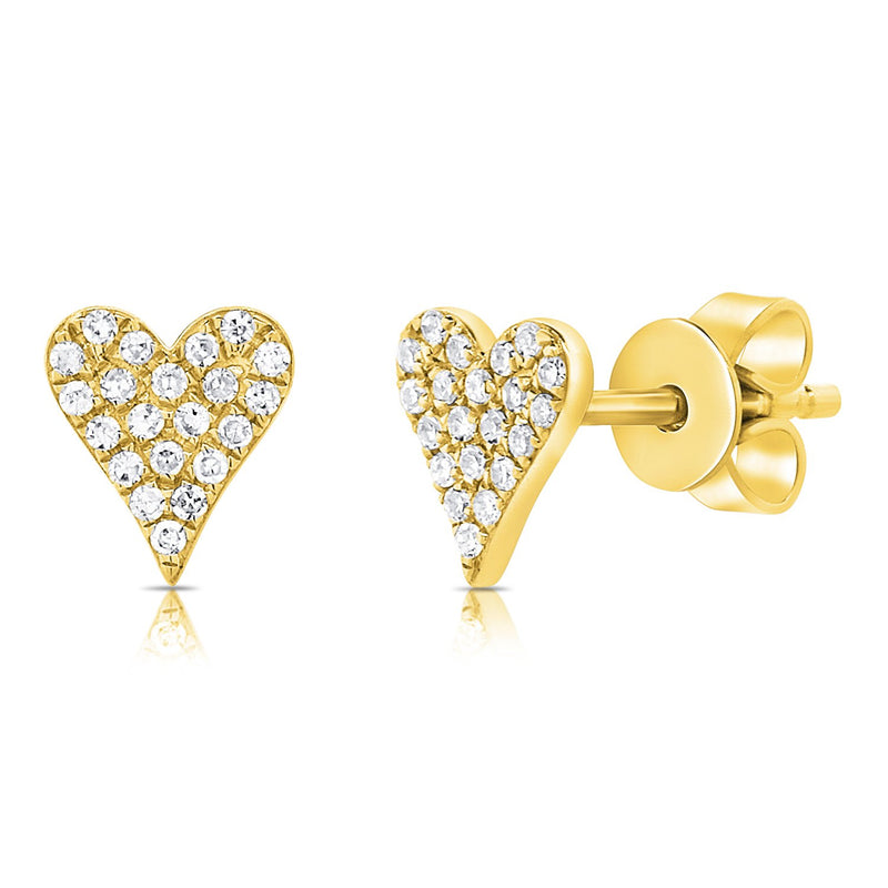 Sabrina Designs 14k Yellow Gold Pave Diamond Heart Stud Earrings