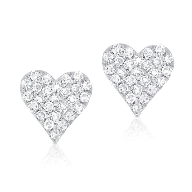 Sabrina Designs 14k White Gold Pave Heart Diamond Heart Stud Earrings