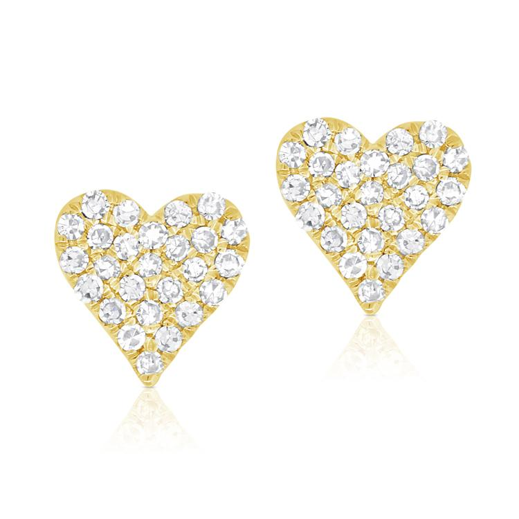 Sabrina Designs 14k Yellow Gold Pave Heart Diamond Heart Stud Earrings