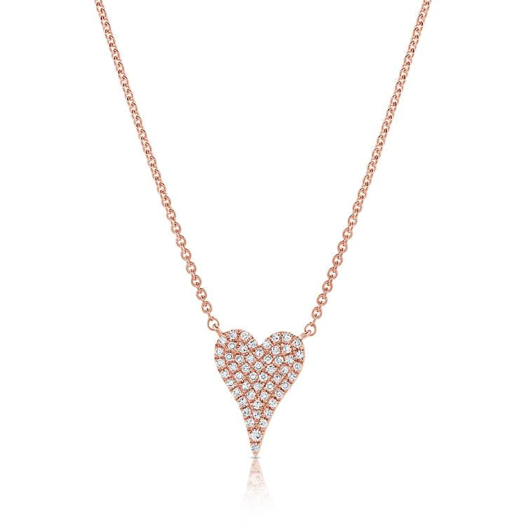 Sabrina Designs 14k Rose Gold Pave Diamond Heart Necklace