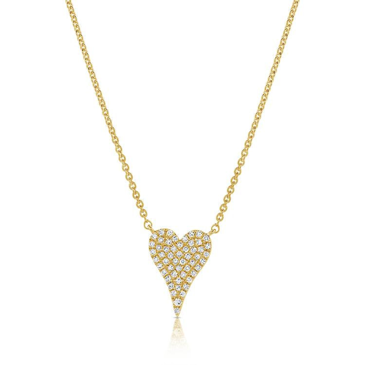 Sabrina Designs 14k Yellow Gold Pave Diamond Heart Necklace