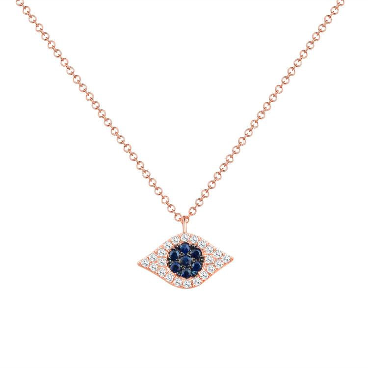 Sabrina Designs 14k Rose Gold Diamond & Sapphire Evil Eye Necklace