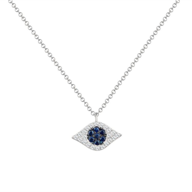 Sabrina Designs 14k White Gold Diamond & Sapphire Evil Eye Necklace