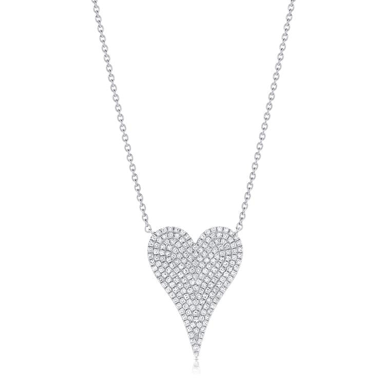Sabrina Designs 14k White Gold Pave Diamond Heart Necklace