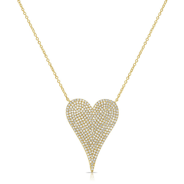 14K Gold Diamond Pave Extra Large Heart Necklace