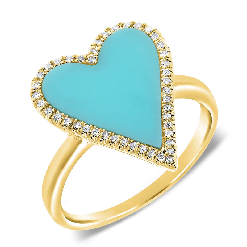 Sabrina Designs 14k Yellow Gold Diamond & Turquoise Heart Ring