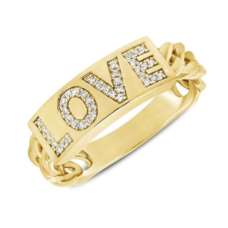 14K Gold Diamond Love Ring