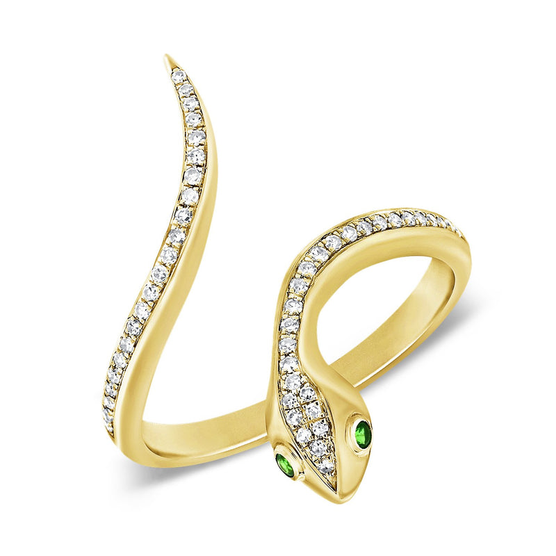 14K Gold Diamond & Tsavorite Snake Ring