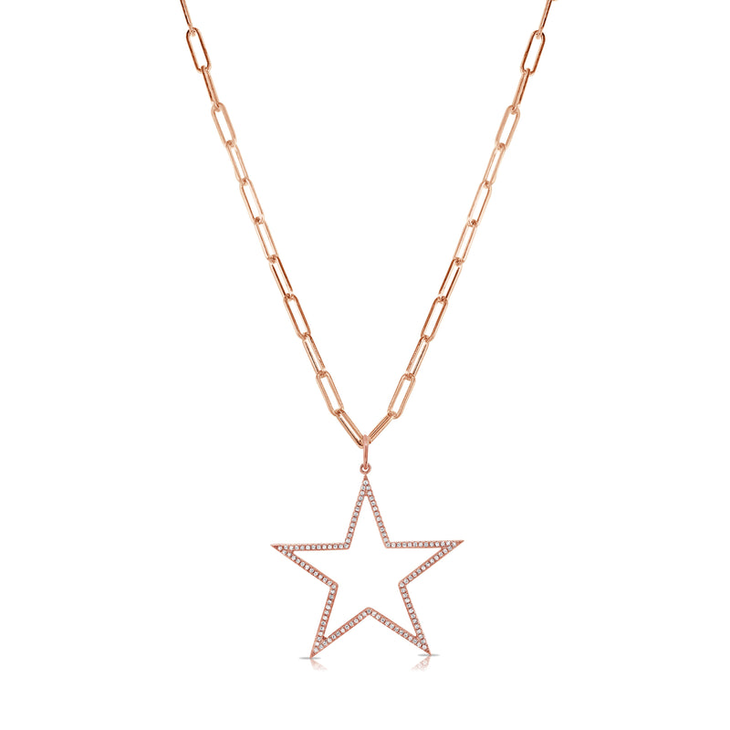 Sabrina Designs 14k Gold Link Chain Open Star Diamond Necklace