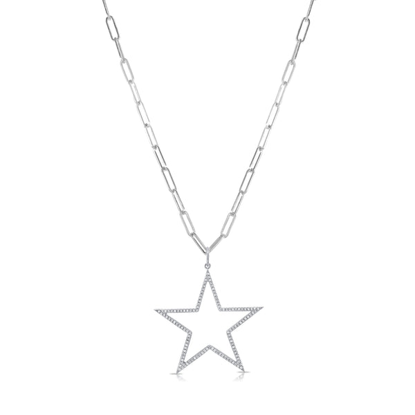Sabrina Designs 14k White Gold Link Chain Open Star Diamond Necklace