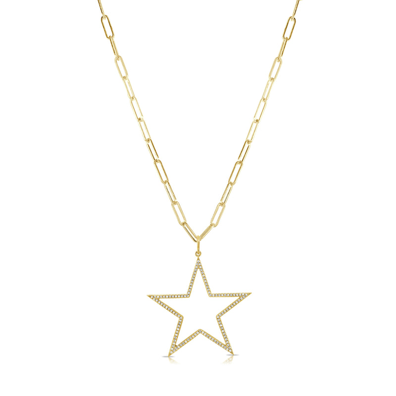Sabrina Designs 14k Yellow Gold Link Chain Open Star Diamond Necklace