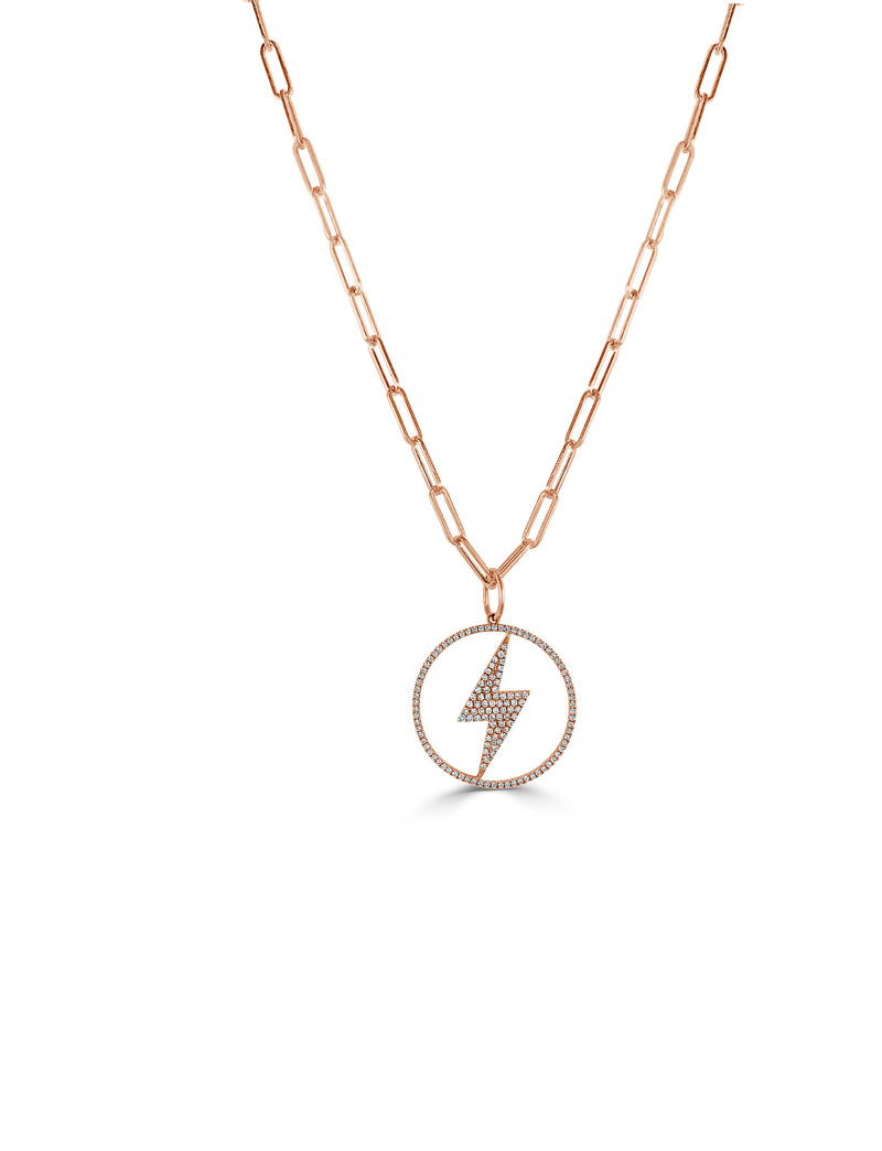 Sabrina Designs 14k Rose Gold Diamond Lightening Bolt Link Necklace