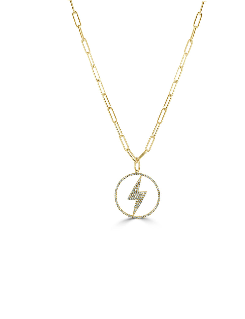 Sabrina Designs 14k Yellow Gold Diamond Lightening Bolt Link Necklace