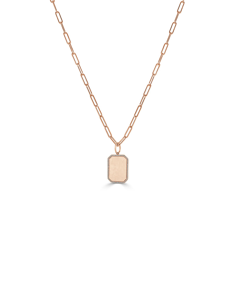 Sabrina Designs 14k Rose Gold Diamond Tag Charm with Link Necklace
