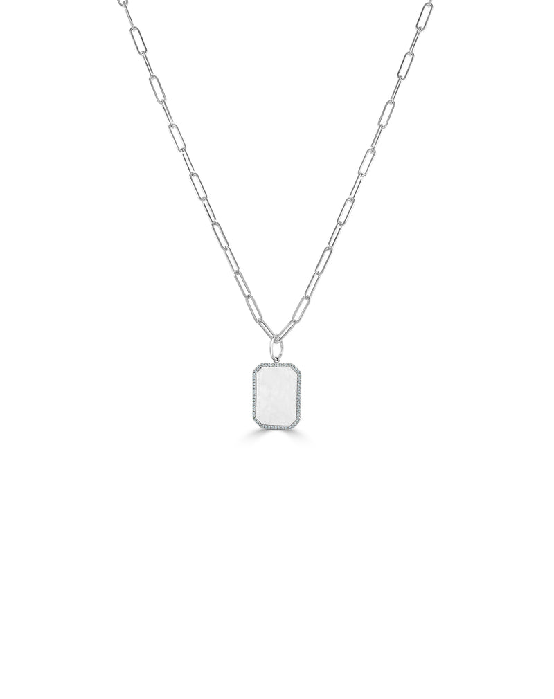 Sabrina Designs 14k White Gold Diamond Tag Charm with Link Necklace