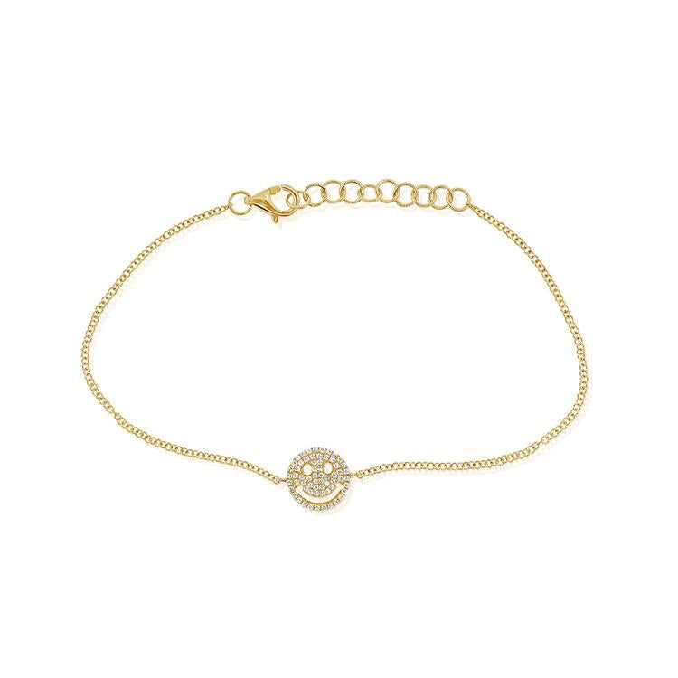 14K Gold Diamond Happy Face Bracelet