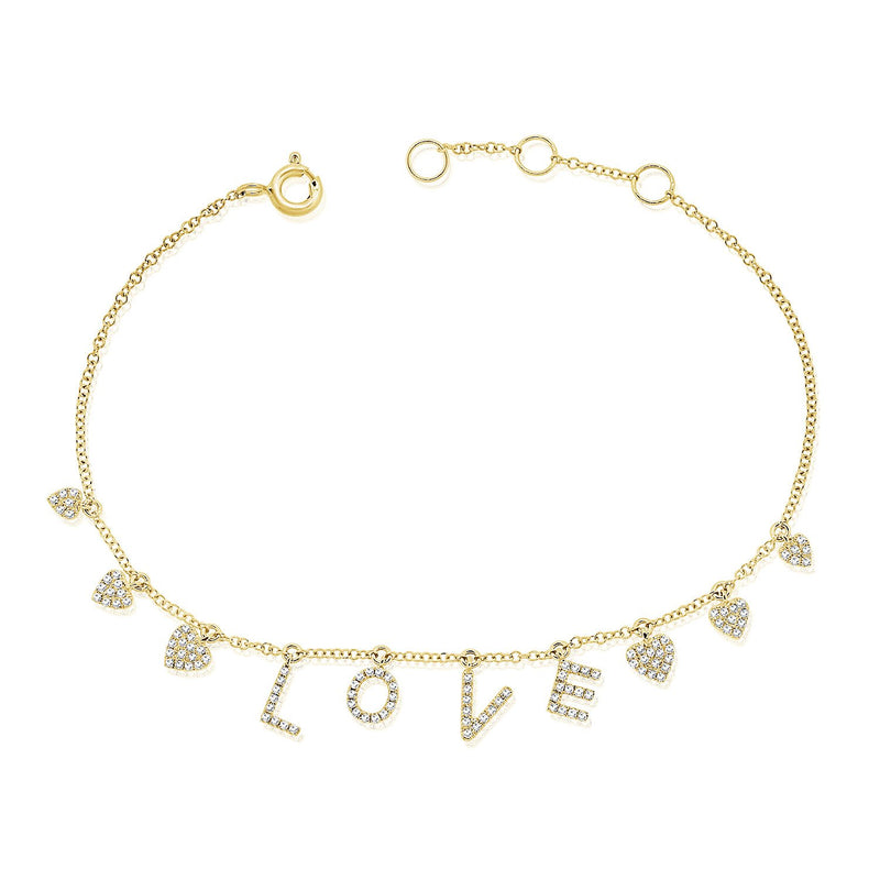 14K Gold Diamond Love Bracelet