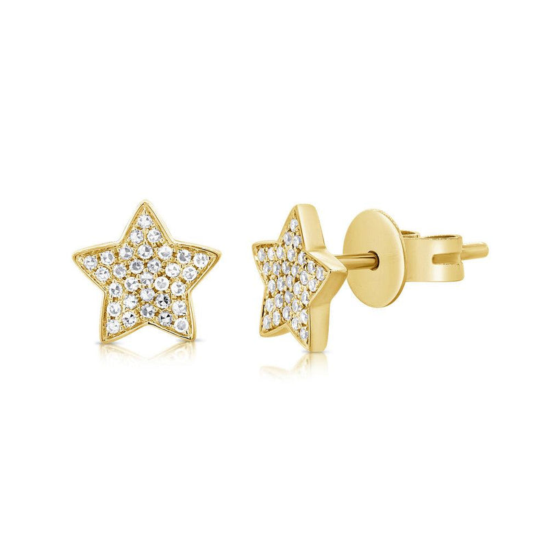 Sabrina Designs 14K Yellow Gold Pave Diamond Star Studs
