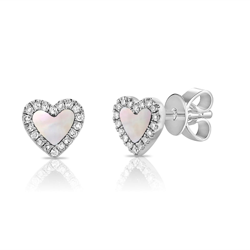 Sabrina Designs 14K White Gold Diamond and Pearl Heart Studs
