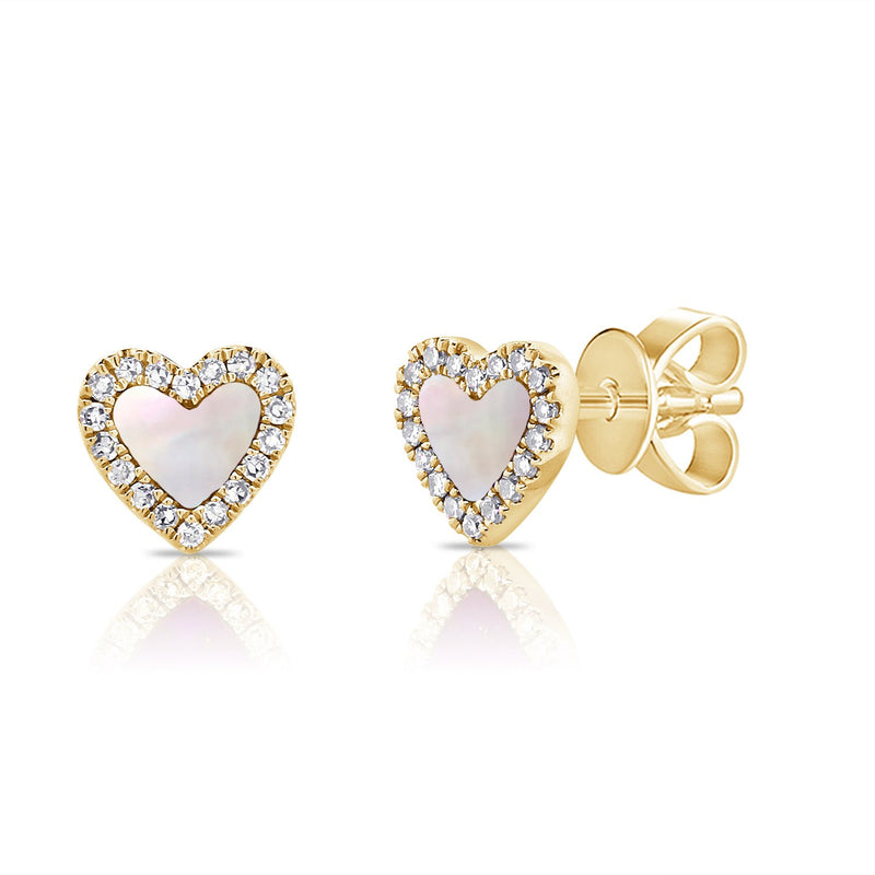 Sabrina Designs 14K Yellow Gold Diamond and Pearl Heart Studs