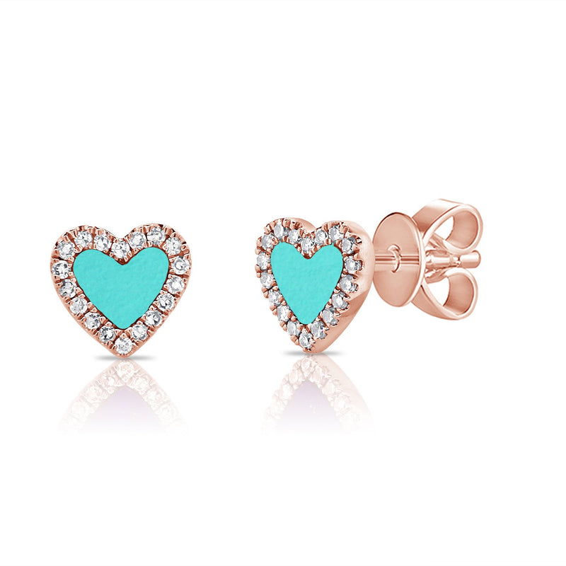 Sabrina Designs 14K Rose Gold Diamond and Turquoise Heart Studs