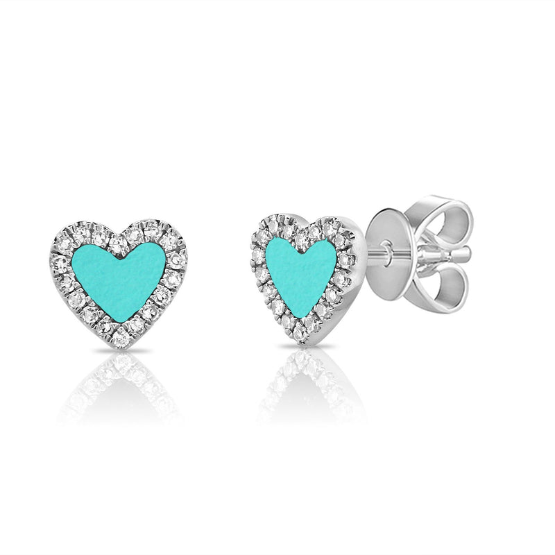 Sabrina Designs 14K White Gold Diamond and Turquoise Heart Studs