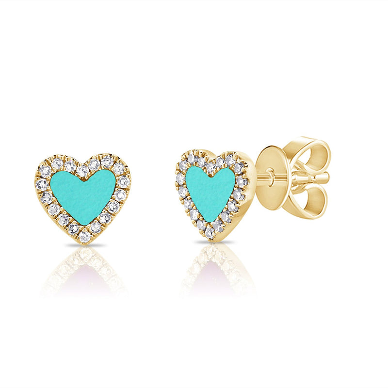 Sabrina Designs 14K Yellow Gold Diamond and Turquoise Heart Studs