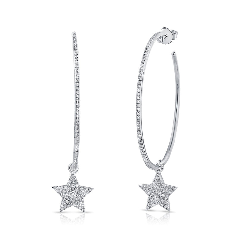 14K Gold Hoop & Stud Diamond Star Earrings
