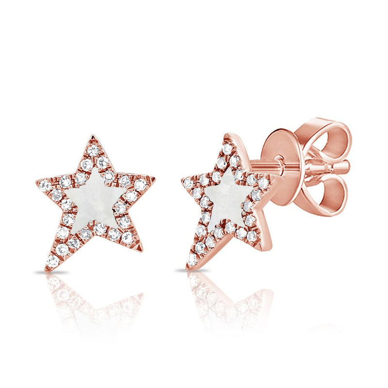 Sabrina Designs 14K Rose Gold Pave Diamond and Mother of Pearl Star Studs