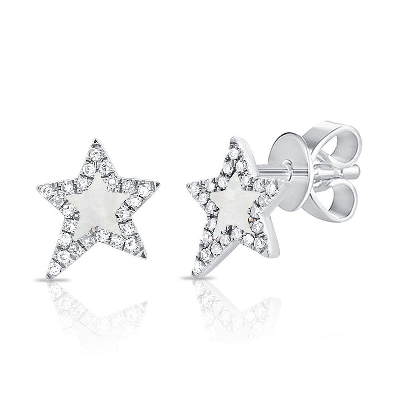 Sabrina Designs 14K White Gold Pave Diamond and Mother of Pearl Star Studs
